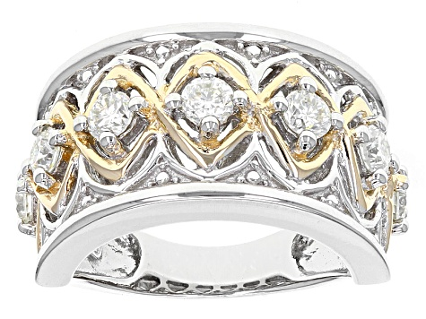 Moissanite Fire® .70ctw DEW Platineve® And 14k Yellow Gold Accent Over Platineve Ring