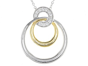 Moissanite Fire® .24ctw DEW Platineve™ And 14k Yellow Gold Accent Over Platineve Pendant &Chain