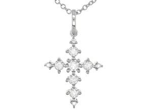 Moissanite Platineve Cross Pendant .84ctw D.E.W