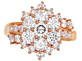 Moissanite 14k Rose Gold Over Silver Ring 2.91ctw DEW