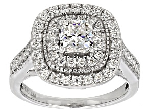 Moissanite Fire™ 1.60ctw DEW Cushion Cut And  Round Platineve™ Ring