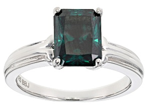 Green Moissanite Platineve Ring 2.70ct D.E.W