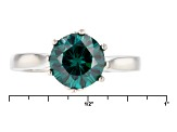 Green Moissanite Platineve Ring 2.20ct D.E.W