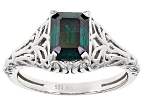 Green Moissanite Platineve Ring 1.75ct D.E.W