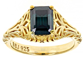 Green Moissanite 14k Yellow Gold Over Silver Ring 1.75ct DEW