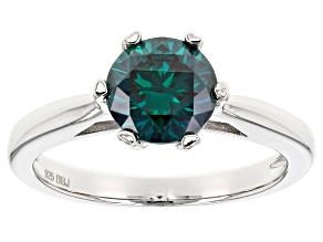 Green Moissanite Platineve Ring 1.50ct D.E.W