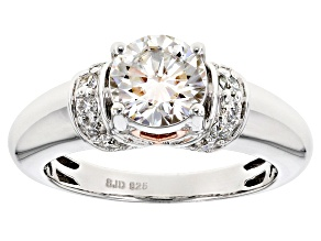 Moissanite Fire® 1.56ctw DEW Round Platineve™ And 14k Rose Gold Over Platineve Ring