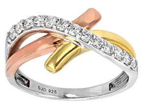 Moissanite Fire® .39ctw DEW Platineve™ With 14k Rose & Yellow Gold Over Platineve™ Ring