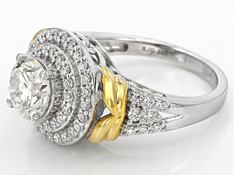 Moissanite Fire® 2.13ctw DEW Round Platineve™ And 14k Yellow Gold Over Platineve Ring