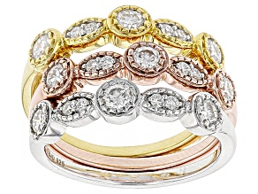 Moissanite Fire® 1.14ctw DEW Platineve With 14k Rose And Yellow Gold Over Sterling Set Of 3 Rings