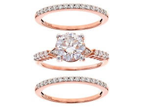 Moissanite Fire® 2.70ctw DEW 14k Rose Gold Over Sterling Silver Ring With Two Bands