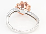 Moissanite Fire® .62ctw DEW Platineve™ And 14k Rose Gold Over Platineve Two Tone Ring