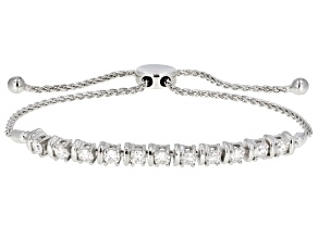 Moissanite Platineve Adjustable Bracelet 1.43ctw D.E.W