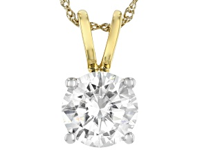 Moissanite 14k Yellow Gold Over Sterling Silver Pendant 1.50ct D.E.W
