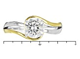 Moissanite Platineve And 14k Yellow Gold Two Tone Ring e 1.20ct DEW.