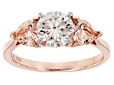 Moissanite Fire™ 1.20ct DEW With .83ctw Morganite 14k Rose Gold Over Sterling Silver Ring