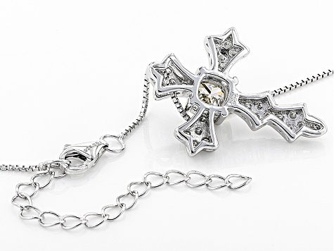 Moissanite Platineve Cross Pendant With Chain 1.30ctw D.E.W