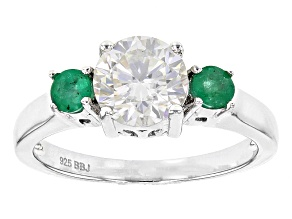 Moissanite And Emerald Platineve Ring 1.20ct D.E.W