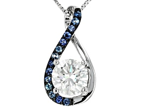 Moissanite Fire® 1.50ct DEW And .25ctw Blue Sapphire Platineve™ Pendant And Chain