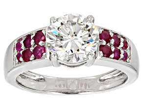 Moissanite Fire® 1.90ct DEW Round And Round .52ctw Ruby Platineve™ Ring