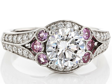 Moissanite Pink Sapphire Platineve Ring 1.82ctw DEW.