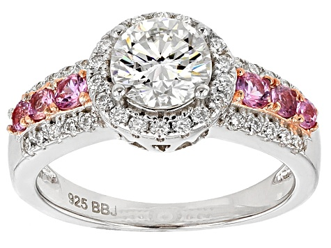Moissanite And Pink Sapphire Sterling Silver Ring 1.38ctw DEW.