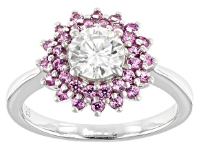 Moissaninte And Pink Sapphire Platineve Ring .80ct DEW.