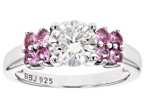 Moissanite Fire® 1.20ct DEW And .63ctw Pink Sapphire Platineve™ Ring