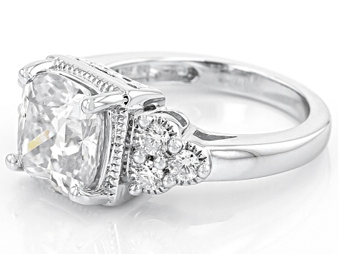 Moissanite Fire® 3.66ctw DEW Cushion Cut And Round Platineve™ Ring
