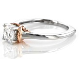 Moissanite Fire® .80ct DEW Platineve™ And 14k Rose Gold Over Sterling Two Tone Ring