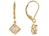 Moissanite Fire® .82ctw DEW Square Brilliant 14k Yellow Gold Over Sterling Silver Earrings