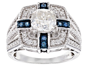 Moissanite Fire® 2.06ctw DEW And .32ctw Blue Sapphire Platineve™ Ring