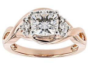 Moissanite 14k Rose Gold Over Silver Ring 1.86ctw DEW