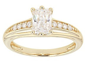Moissanite 14k Yellow Gold Over Silver Ring 1.36ctw DEW
