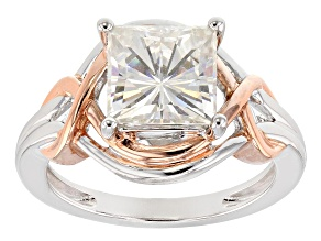 Moissanite Fire® 3.10ctw DEW Platineve™ And 14k Rose Gold Platineve Ring