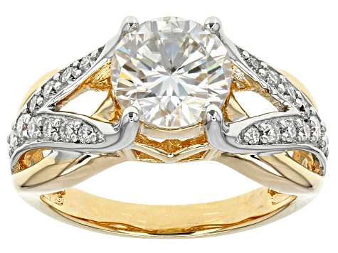 Moissanite Fire® 2.30ctw DEW Platineve™ And 14k Yellow Gold Platineve Ring