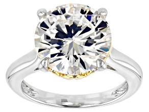 Moissanite Fire® 5.37ctw DEW Platineve® And 14k Yellow Gold Two Tone Ring