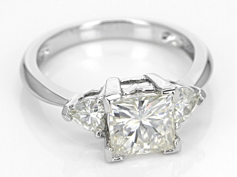 Moissanite Ring Platineve 2.56ctw DEW