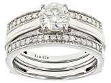 Moissanite Fire® 1.14ctw Diamond Equivalent Weight Round Platineve™ Ring With Guard
