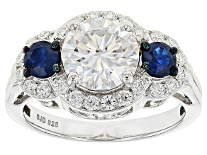 Moissanite And Blue Sapphire Platineve Ring