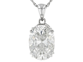 Moissanite Fire® 7.22ct Diamond Equivalent Weight Oval Platineve™ Pendant With Chain
