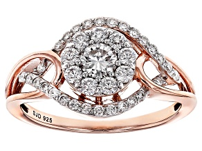 Moissanite 14k Rose Gold Over Silver Ring .78ctw DEW
