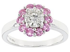 Moissanite Fire® .80ct DEW And .80ctw Pink Sapphire  Platineve™ Ring