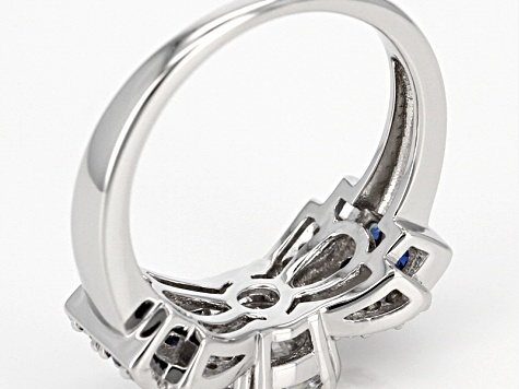 Moissanite Fire® 1.74ctw DEW  And .59ctw Blue Sapphire Platineve™ Ring