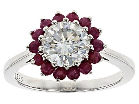 Moissanite Fire® 1.50ct DEW Round And .70ctw Round Ruby Platineve™ Ring