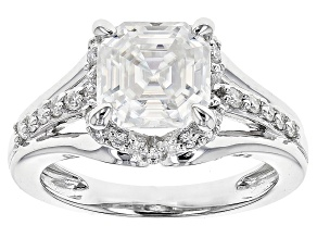 Moissanite Fire® 3.38ctw Diamond Equivalent Weight Asscher Cut And Round Platineve™ Ring