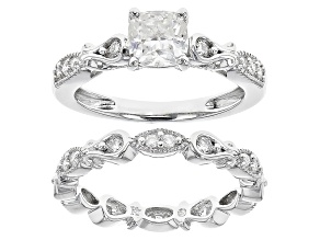 Moissanite Platineve Ringwith Band 1.70ctw D.E.W