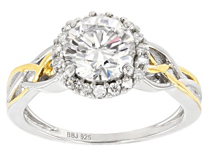 Moissanite Fire Platineve And 14k Yellow Gold Two Tone Ring 1.68ctw DEW