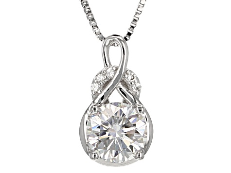 Moissanite Fire® 1.55ctw Diamond Equivalent Weight Round Platineve™ Pendant With Chain