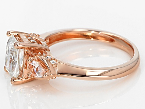 Moissanite Fire® 1.96ctw DEW And .38ctw Morganite 14k Rose Gold Over Silver Ring.